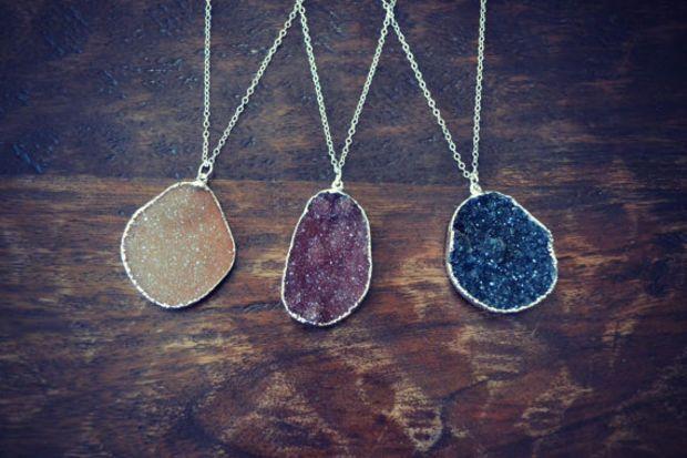 Druzy Necklaces /// Electroformed Gemstone Arrowhead /// Silver