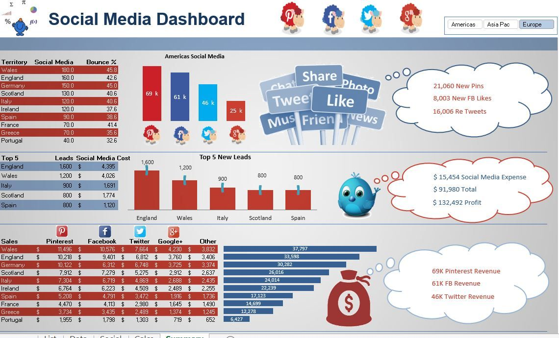 Social Media Dashboard in Excel Dashboard examples