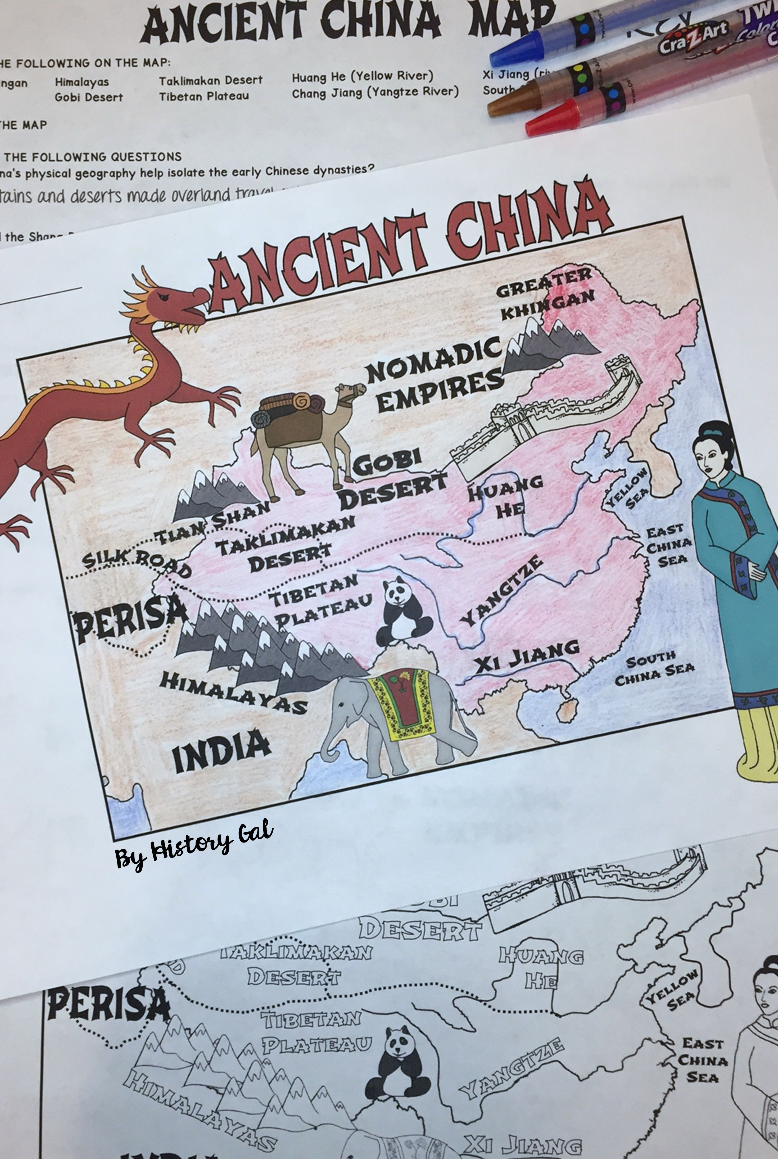Ancient China Map Activity Print And Digital