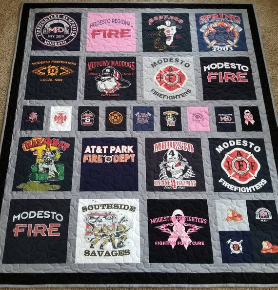 Jersey tshirt quilts made from 9 to 49 tees  Memory T shirt quilts  Custom tshirts quilt  Deposit only! The prices are below quilt photo is part of Tshirt quilt, Tshirt quilt pattern, Shirt quilt, Tshirt quilt diy, Tee shirt quilt, Jersey quilt - FAQ  1 SIZES AND PRICES   Small LAP QUILT  (9 tees) approx  size (52''x 52'')  $335 Medium  LAP QUILT  (12 tees) approx  size (52''x 67 )  $410 Long  LAP QUILT  (15 tees) approx  size (52''x 84'')  $480 XL LAP QUILT  (16 tees) approx  size (67''x 67'')  $520 TWIN QUILT  (20 tees) approx  size (67''x 84'')  $625 LONG TWIN QUILT  (24 tees) approx  size (67''x 98'')  $675 FULL QUILT  (25 tees) approx  size (84''x 84'')  $690 QUEEN QUILT  (30 tees) approx  size (84''x 98'')  $785 XL QUEEN QUILT  (36 tees) approx  size (98''x 98'')  $880 KING QUILT  (42 tees) approx  size (98''x 110 )  $990 XL KING QUILT  (49 tees) approx  size (110''x 110'')  $1180 Quilt sizes may varied    FAQ  2 HOW TO ORDER    All you need to do is add this listing to the cart and check it out   $100 is a DEPOSIT only  The remaining balance will due, once quilt is complete and ready to be shipped     If you prefer to make a PAYMENT in FULL,click here Once your payment is approved, you will receive an informative email with details on how and where to send your Tshirts    FAQ  3 WHAT WILL I GET BY PURCHASING THIS LISTING   By purchasing this listing you will get a quilt made out of 949 tshirts, WITH FABRIC IN BETWEEN TSHIRT SQUARES  If you do not have enough Tshirts, I will build up a few squares from matching fabrics or other materials   FAQ  4 What DO I SEND, besides my Tshirts   EVERYTHING IS INCLUSIVE, except your Tshirts or clothes  1  Solid colors 100% cotton fabric for the quilt top 2  Featherweight stabilizer for the back of the shirts 3  80% COTTON, 20% POLY batting 4  Solid colors 100% COTTON fabric or FLEECE will be used for the back of the quilt (your choice), MINKY will be an extra cost from $25 and up, depending on the quilt size   Your finished QUILT will have 3 LAYERS quilted together!!! PLEASE DO NOT CUT YOUR TSHIRTS, I will cut them for you! If your tshirts are already precut…I still will work with them ) Usually your tshirts will be cut into 12''x 12'' squares or 14''x 14'' squares, if you need a different size squares, just simply let me know  Embroidery is available from $20   PHOTO    Photo transfer will be extra $6 per picture   Please feel free to send me a convo or drop a note to quiltrich@yahoo com, if you have any questions and I will be glad to help you ) Thank you!!! All work is done in a smoke free environment  With My Very Best Wishes, Leah