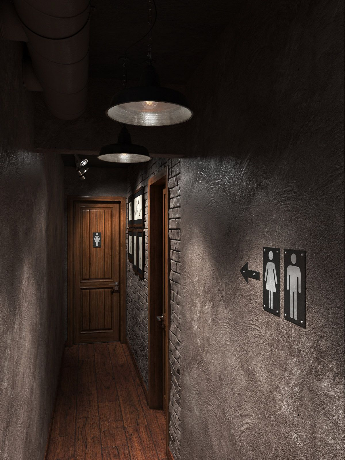 Hallway near WC in the PUB / Rendering / Software: 3ds max ...