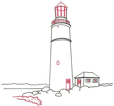 How To Draw Lighthouses In 4 Steps Lighthouse Painting Lighthouse Drawing Lighthouse