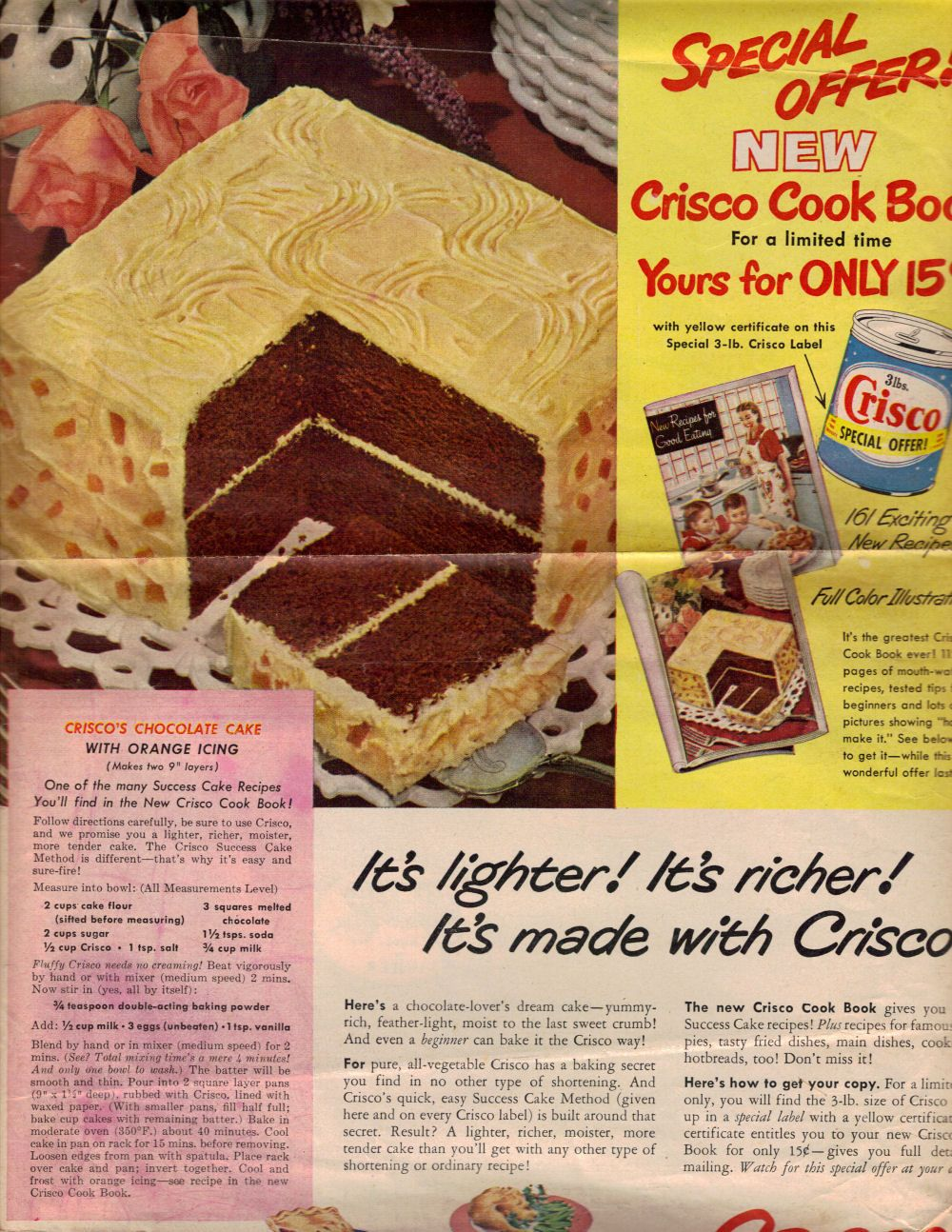 Crisco S Chocolate Cake Vintage Recipe Click To View Larger Vintage Recipes Vintage Cake Vintage Cooking