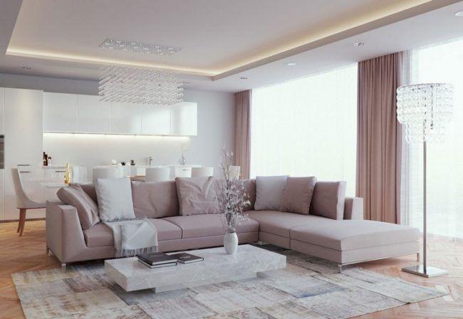 Wohnzimmerbeleuchtung-abgehangte-decke-rosa-ecksofa-marmor - wohnzimmer beleuchtung ideen