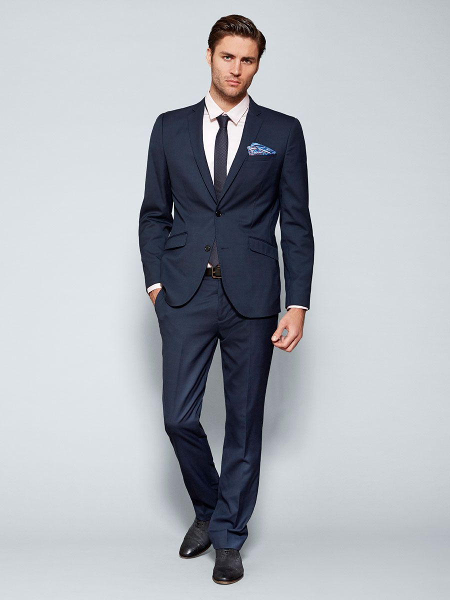 Dress up formally - Navy Blue Fitted Suit