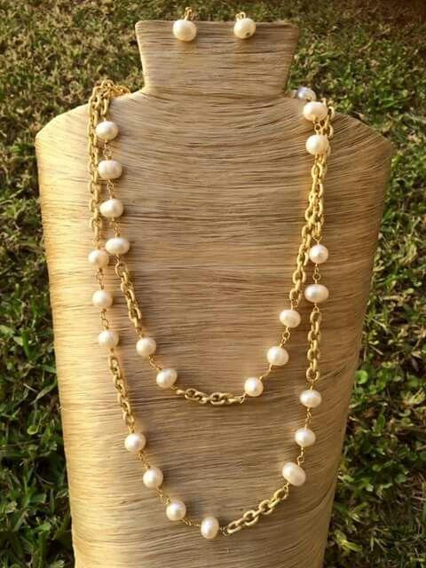 a7314dd13729 Collar perlas rio y cadena aluminio