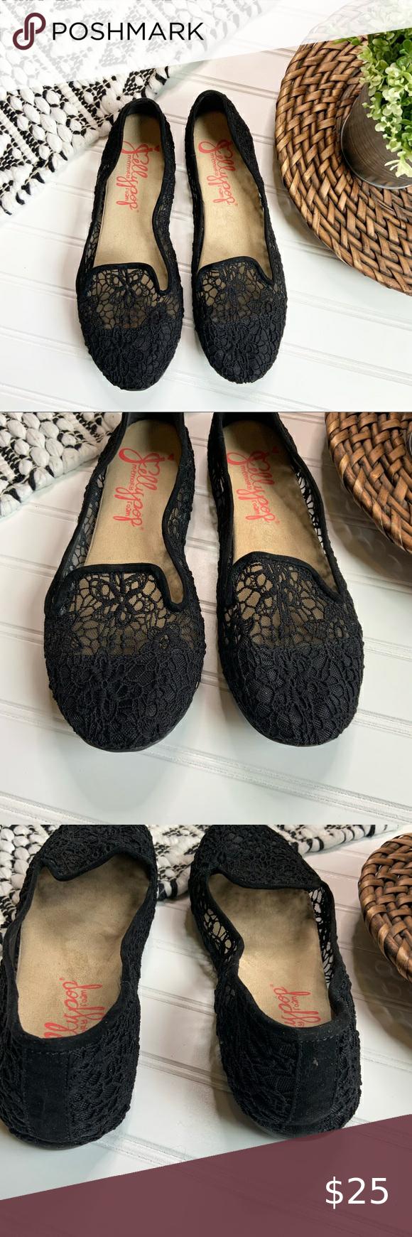 jellypop black lace flats
