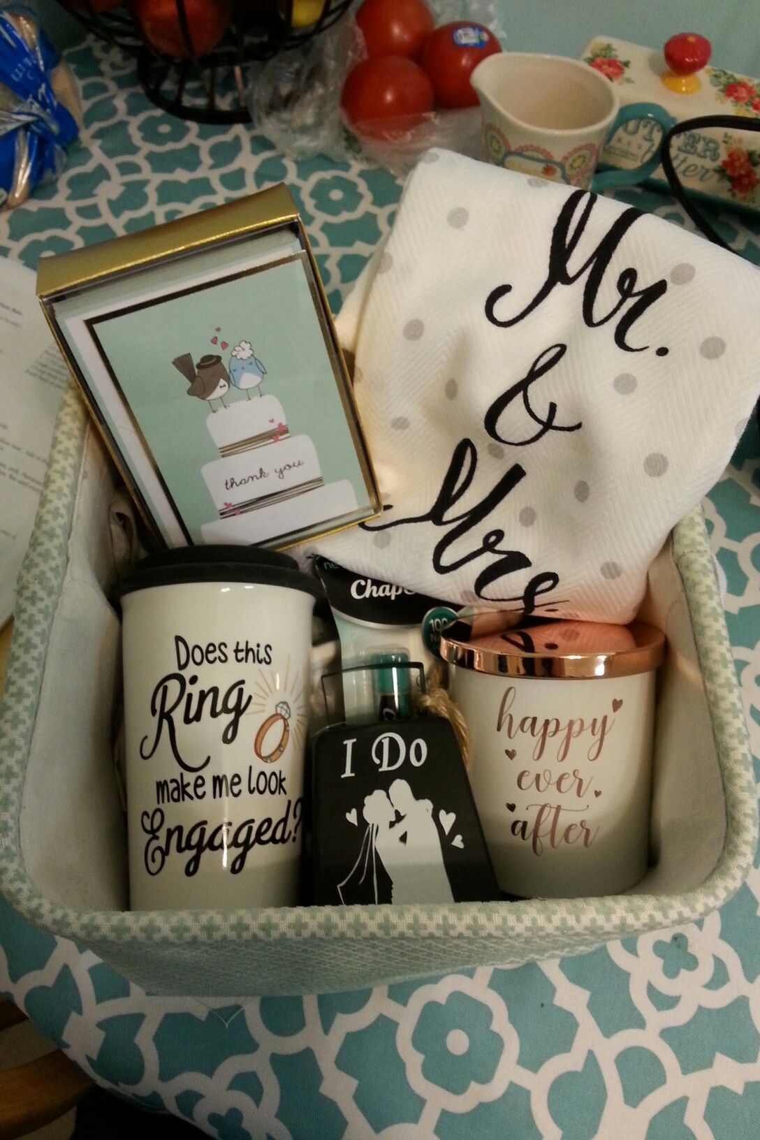 Engagement gift basket  engaged  ring  mugs  wedding  bride  giftbasket b8d6390ddda3