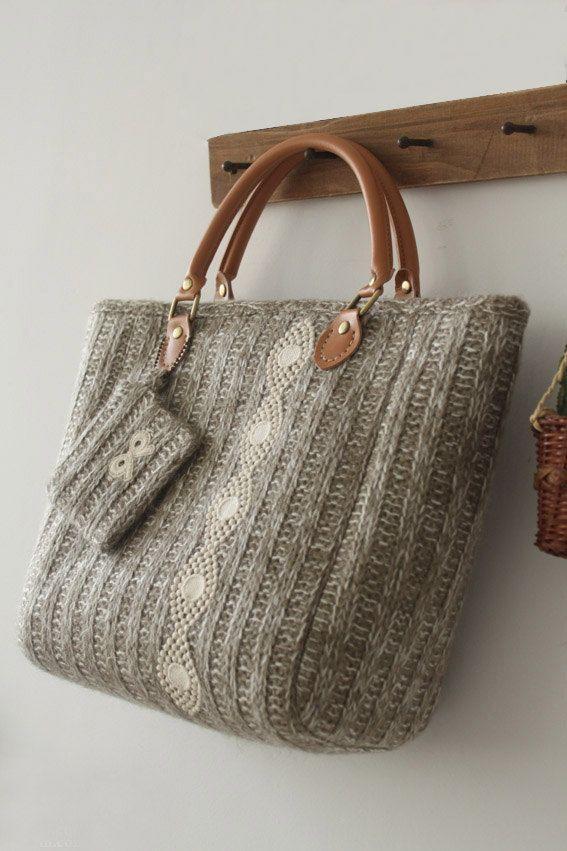 Knit Bag/  Shoulder bag/ Purse/ Toto Bag/ Knitting by burlapdesign, $58.00