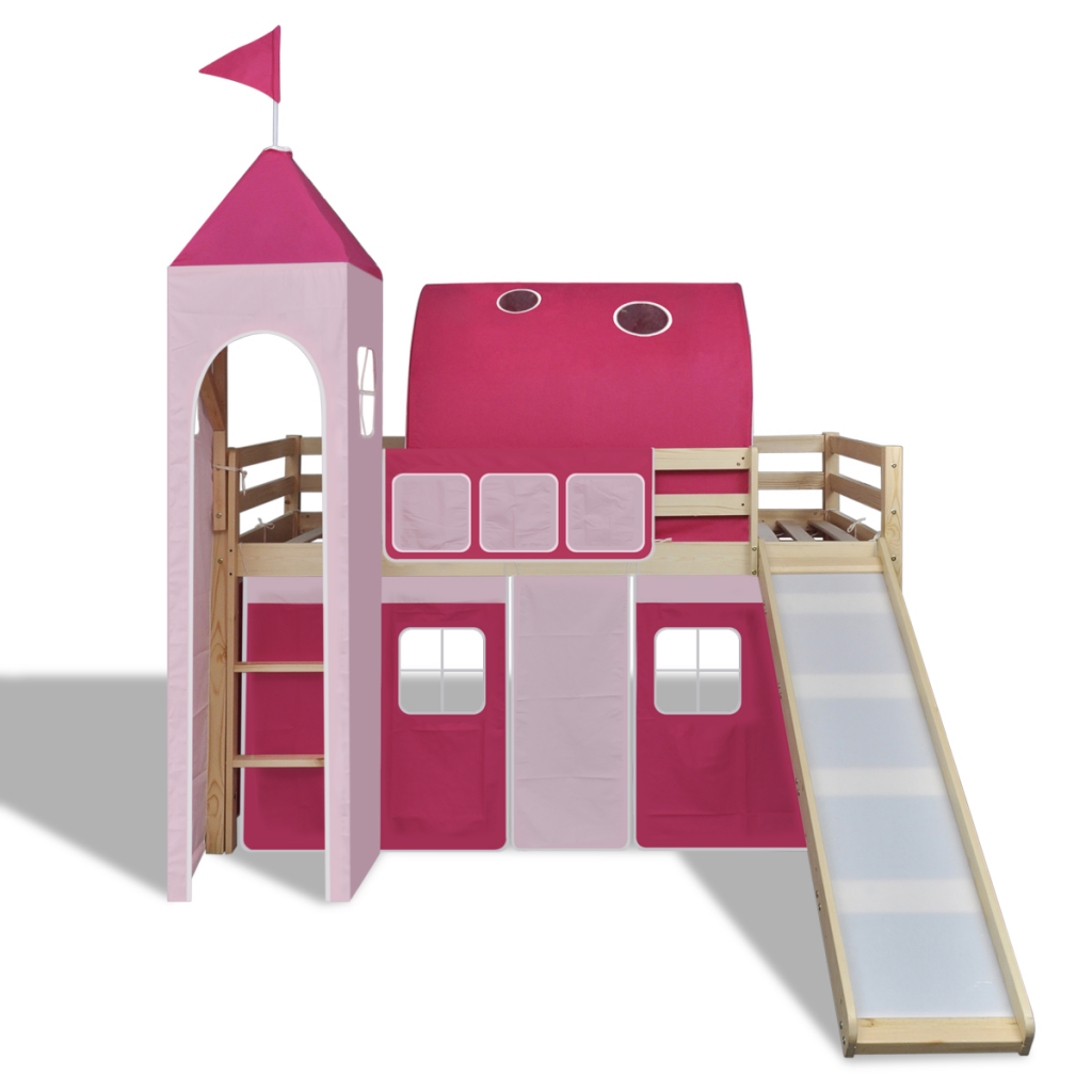 Slide for loft bed  Loft Bed With Slide Ladder Natural Colour Castlethemed  Toddler