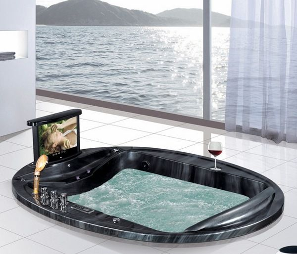 luxury large bathtubs sunken whirlpool bathtub built in TV ...