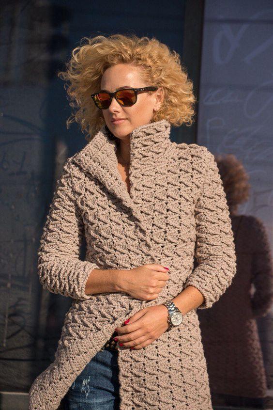 Photo of crochet coat, long sleeve cardigan, gift ideas, winter clothing, cozy dress, classic handmade, wool, acrylic