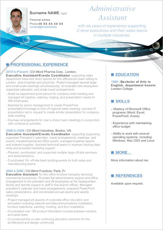 Entry Level Administrative Assistant Resume Template With Photo Microsoft Word Resume Template Downloadable Resume Template Resume Template Word