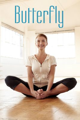butterfly pose benefits stretches legs/thighs  gets rid