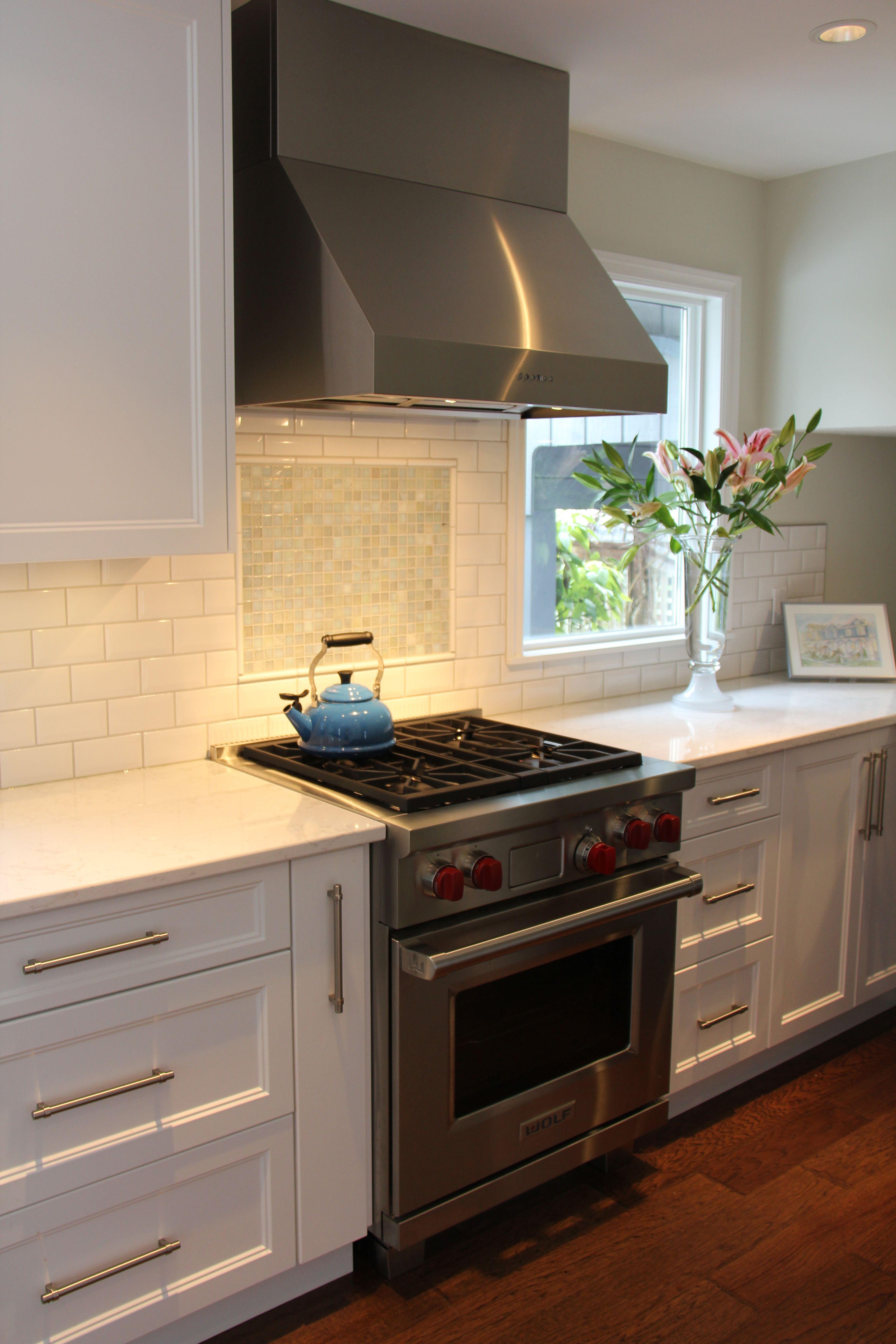 White shaker kitchen #wolfrange #whitecabinets # ...