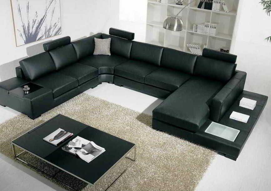 Foto Sofa Ruang Tamu Sederhana Minimalis Leather Sectional