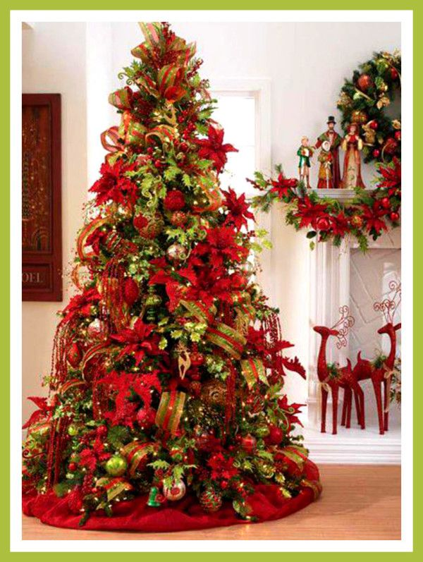 Elegant Christmas Tree With Ribbon And Poinsettias Cool Christmas Trees