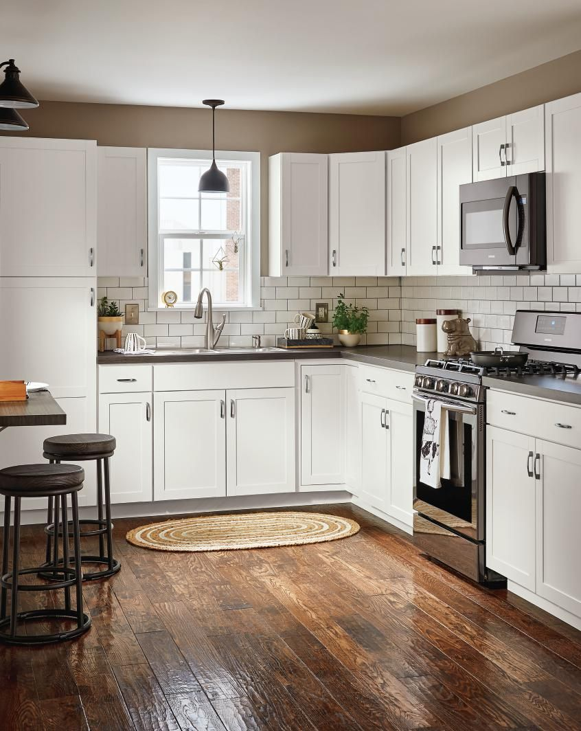 lowes kitchen cabinets tile for floor diamond now at lowe s arcadia collection streamlined styling and a durable white truecolor finish make timeless choice that is