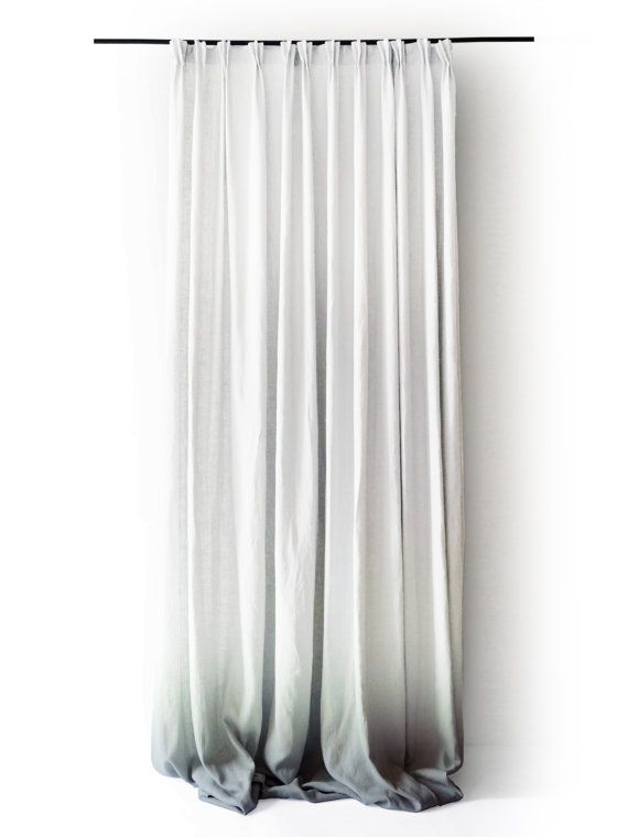 ombre white linen curtain panels pinch pleat by