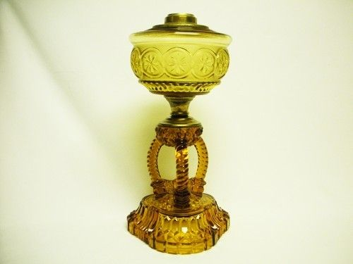 1800 S Eapg Cathedral Oil Lamp Amber Arch Antique Kerosene Pattern Glass Old Oil Lamps Lamp Pattern Glass