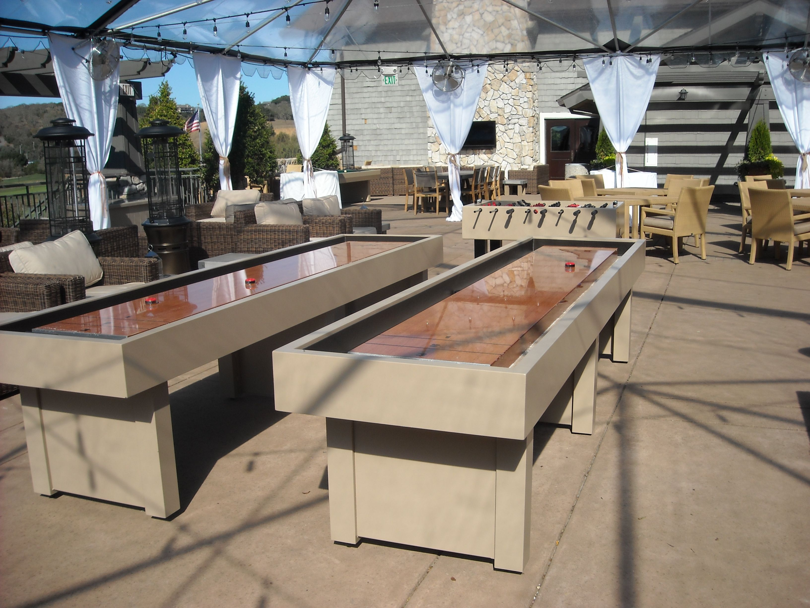 Outdoor Shuffleboard Table by Hudson may be available with glow