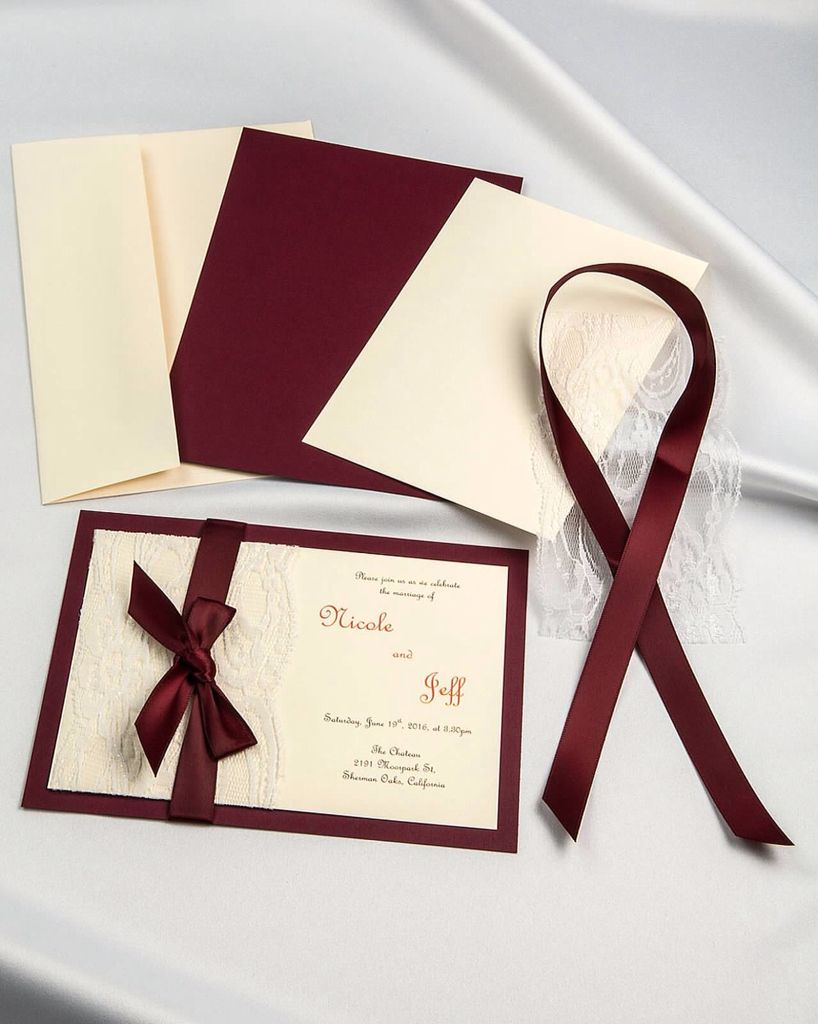 burgundy ribbon and real lace diy invitations with cream invitation