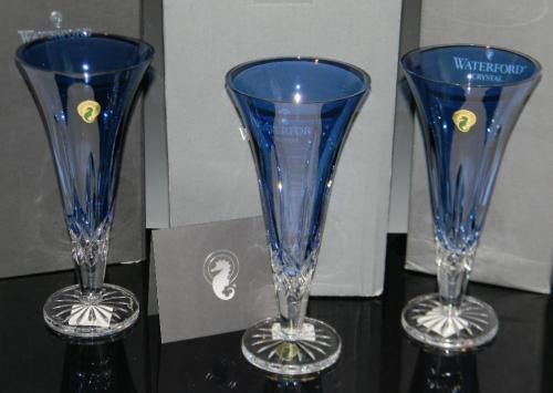 3 @ WATERFORD TRUMPET VASES LISMORE SAPPHIRE - Currently Available @ E. M. Wallace Auctions & Appraisals