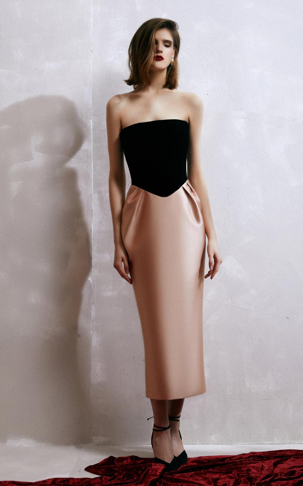 Velvet And Satin Strapless Midi Dress By Rasario Moda Operandi Strapless Midi Dress Strapless Mini Dress Satin Maxi Dress [ 1602 x 1000 Pixel ]