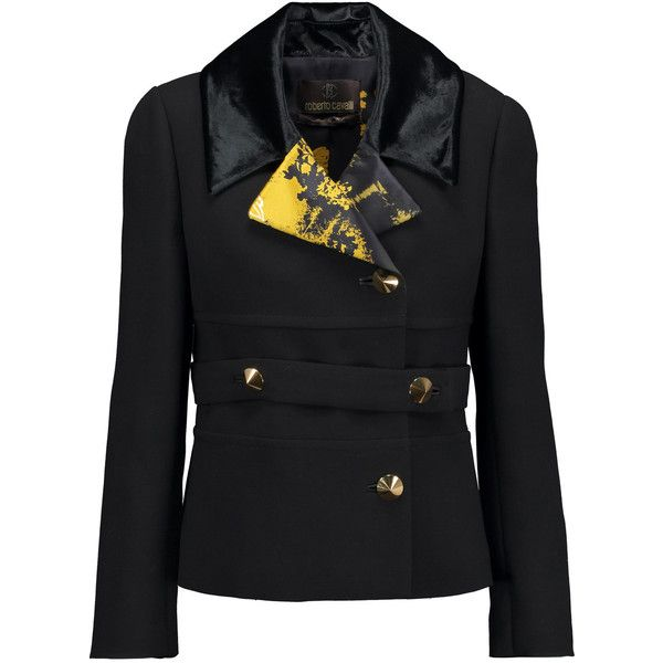 Roberto Cavalli Printed satin and velvet-trimmed wool-crepe jacket (6 580 SEK) ❤ liked on Polyvore featuring outerwear, jackets, black, roberto cavalli, crepe jacket, wool jacket, loose jacket and lapel jacket