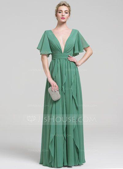 6357f1e1bd0e [R$ 362,23] Vestidos princesa/ Formato A Decote V Longos Tecido de seda  Vestido de festa com Beading Babados em cascata