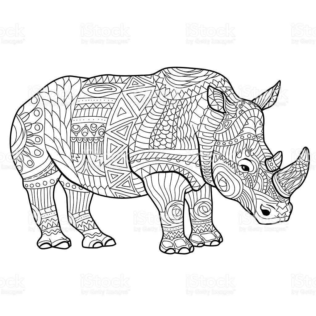 Rhinoceros Coloring Book For Adults Vector Illustration Ausmalbild