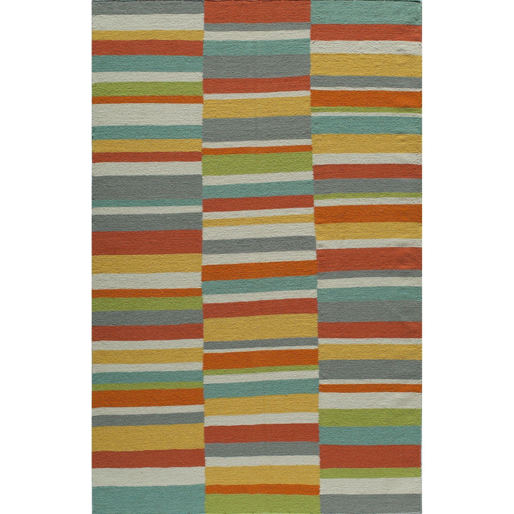 Momeni Mersa Asymmetric Stripe Reversible Flat Weave Dhurrie Area Rug