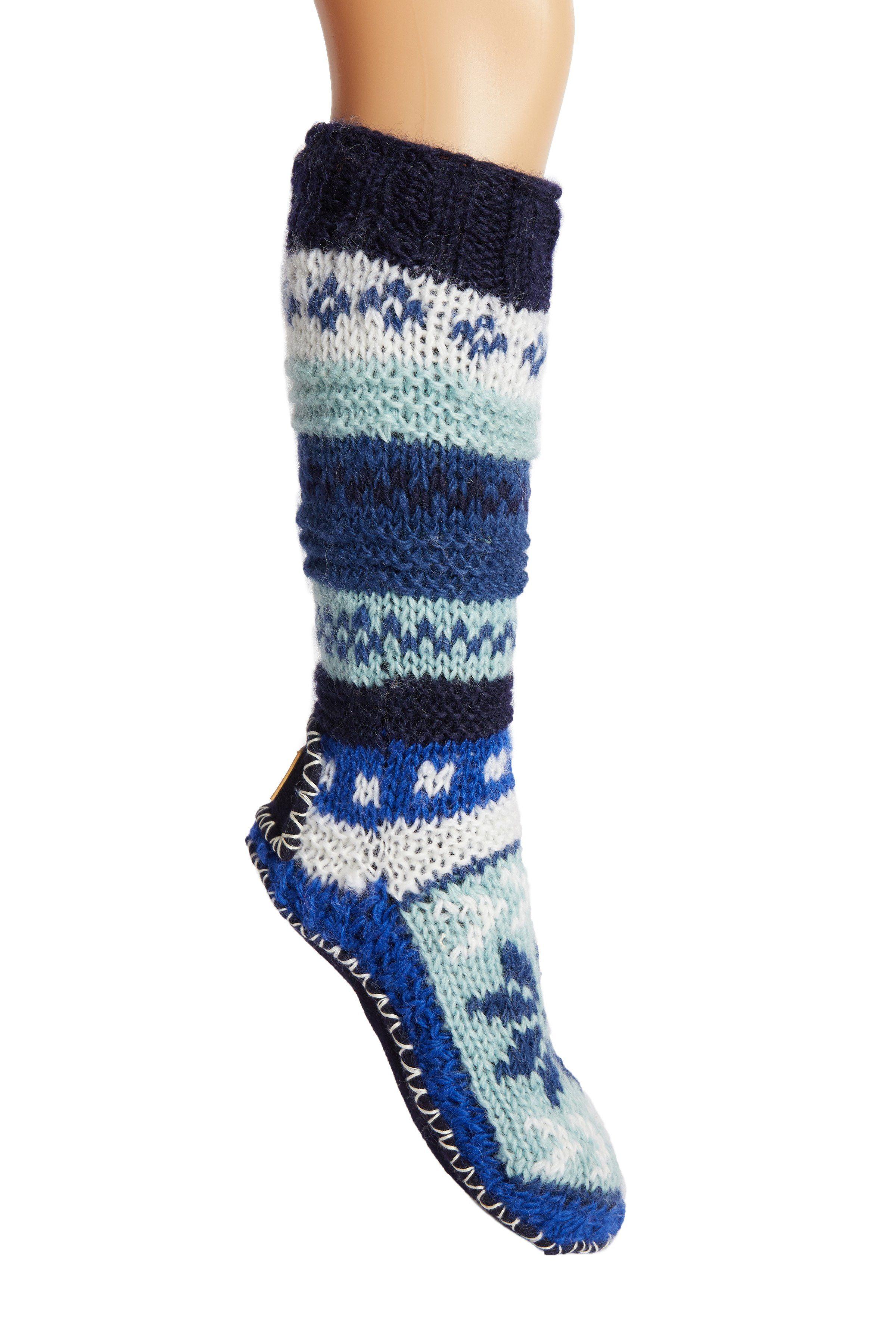 Tibetan Socks Hand Knit Wool Fleece Lined Long Slipper Socks Blue XS