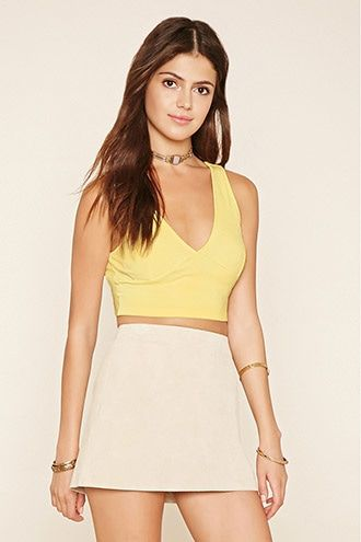 buy it now forever21 women s yellow plunging v neck crop top