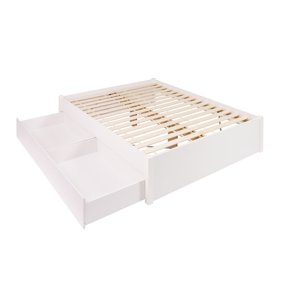 Queen Select 4 Post Platform Bed With 2 Drawers White Platform