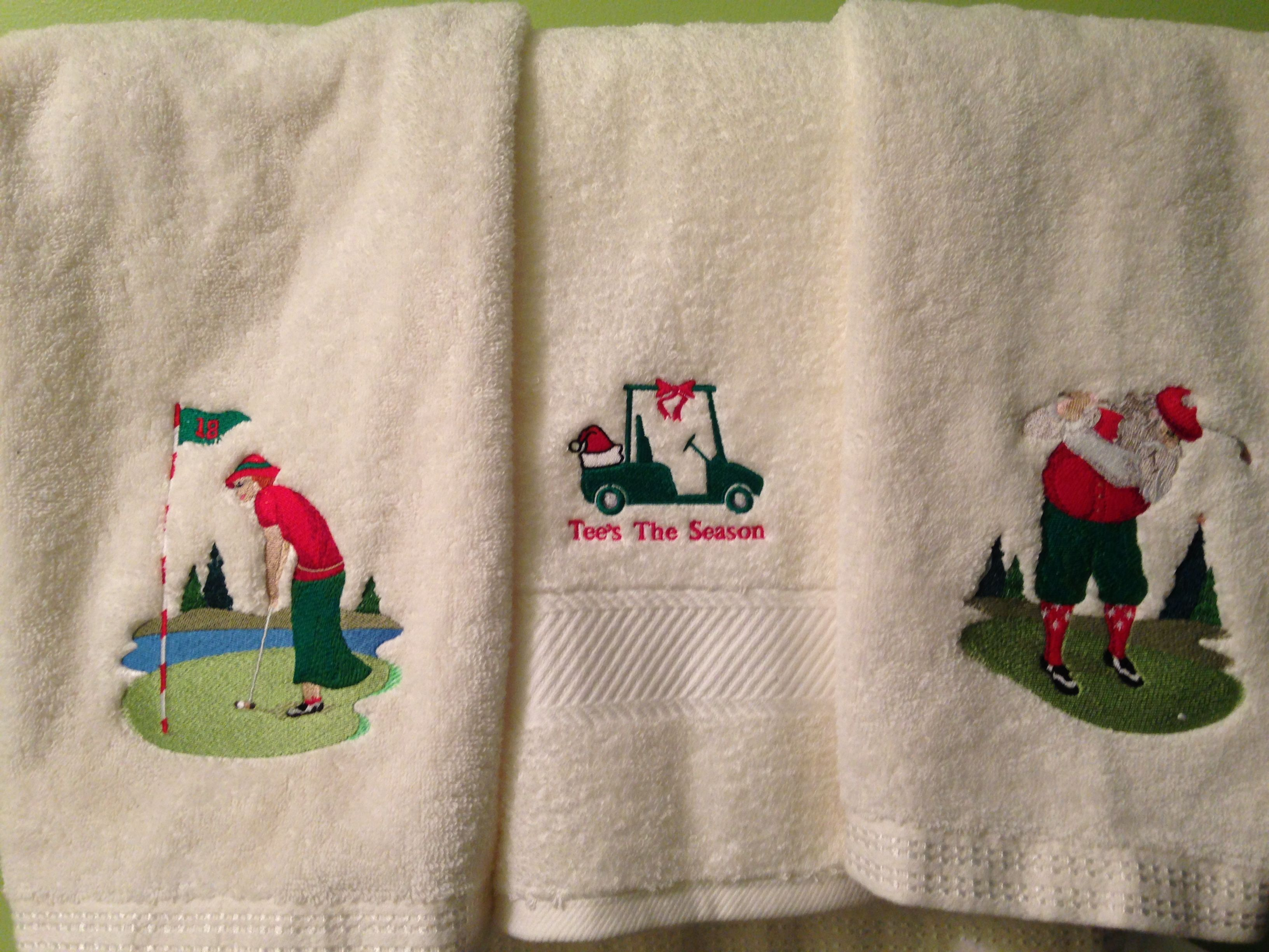 Christmas Golf Themed Bathroom Towels I Made For Our