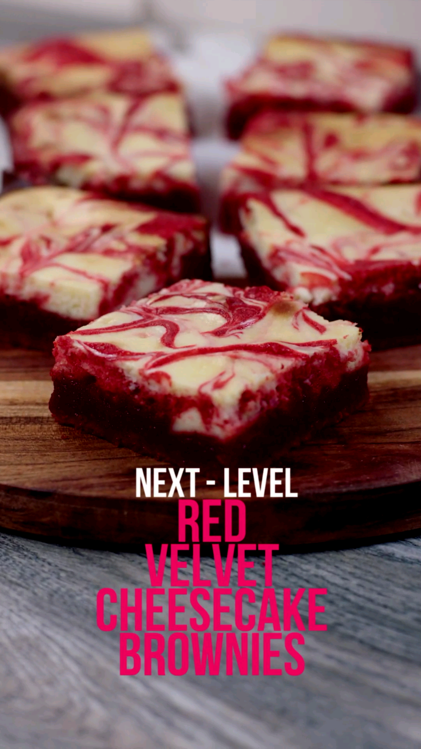 Red Velvet Cheesecake Swirl Brownies Recipe  - Foo