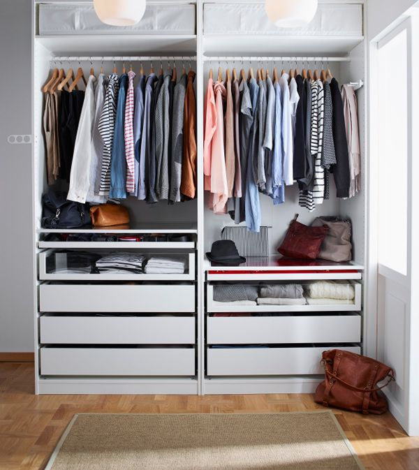 Create a wardrobe for his and her with pax wardrobes and make your mornings function better with for Creation armoire ikea