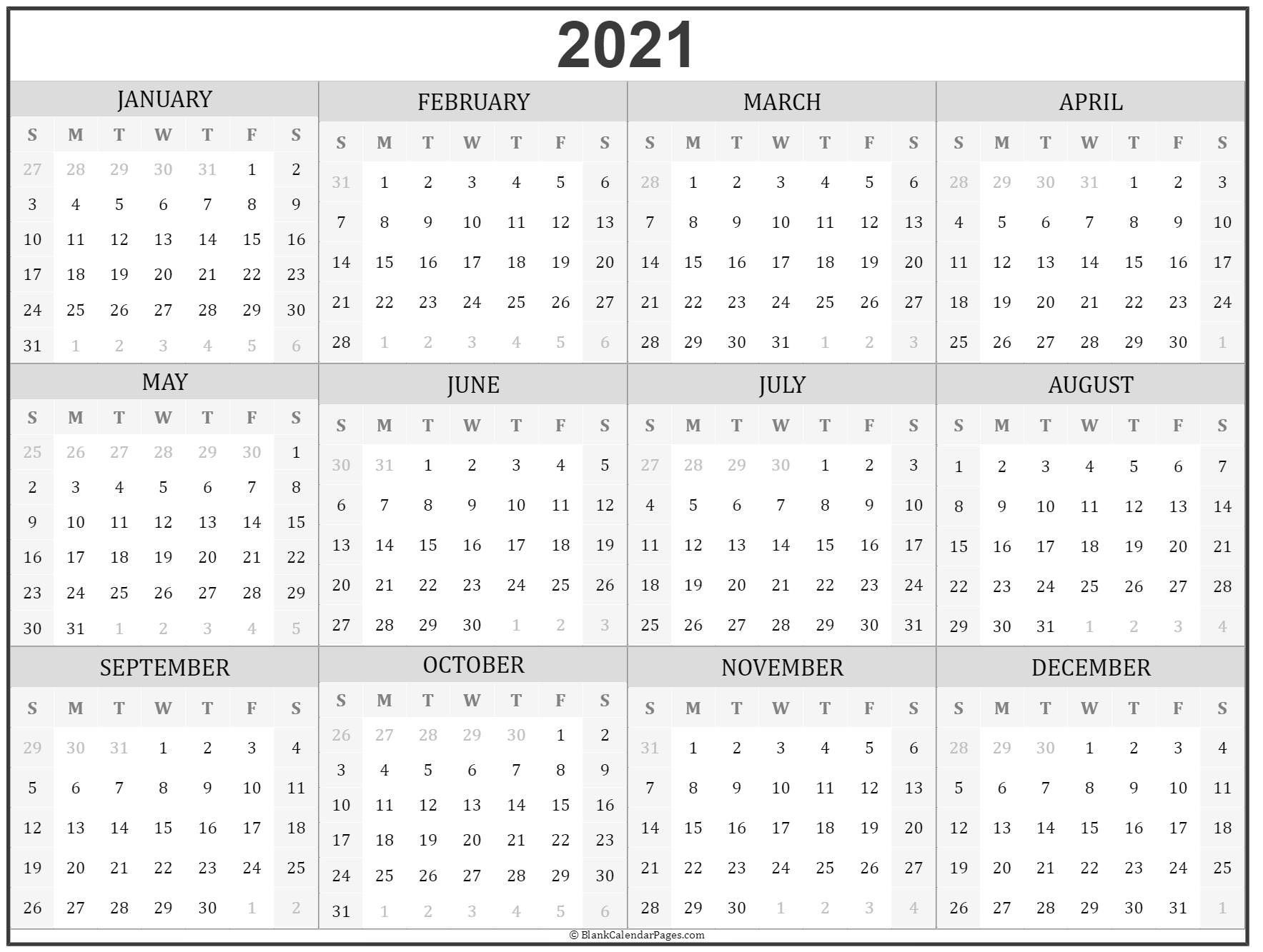 2021 Year Calendar In 2020 Yearly Calendar Template Printable Calendar Design Print Calendar