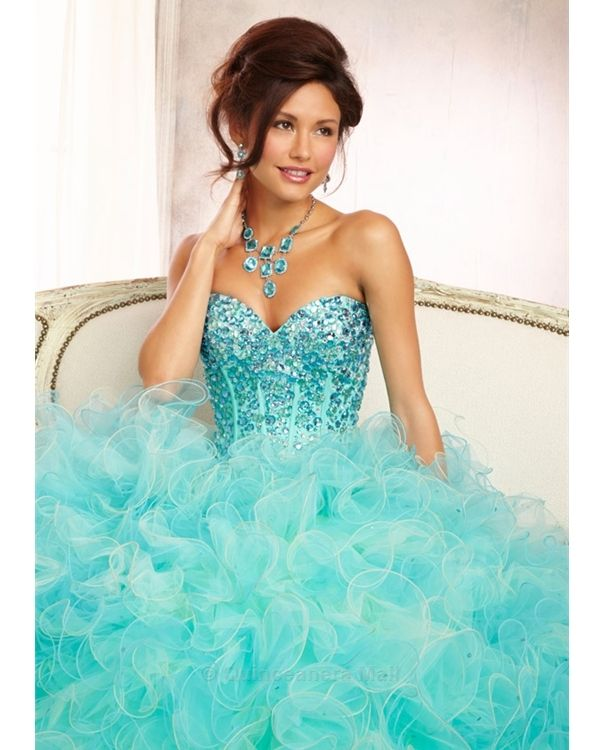 9660bc725 Quinceanera Dress  88098 Beaded Bodice on a Two Tone Ruffled Tulle Ballgown  Skirt. Matching Bolero Included. Colors Available  Mint Freeze