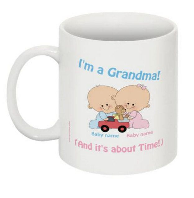 Grandma's Twins - Boy and Girl It's About Time Mug by 985Designs on Etsy
