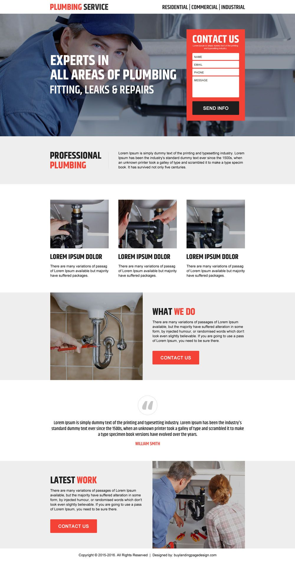 Website Templates Best Landing Pages To Promote Your Plumbing Services   Website