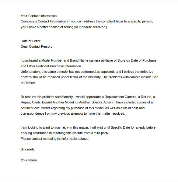 Letter Complaint Templates Free Sample Example Format Welcome