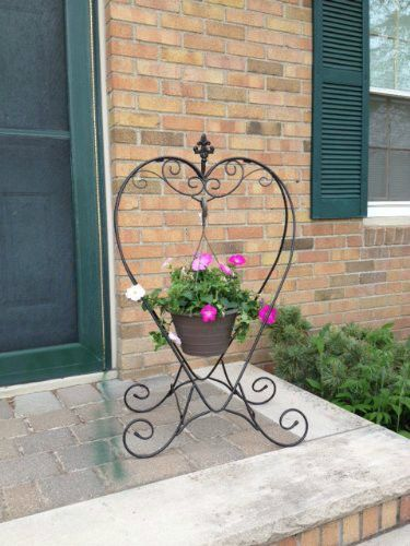 Details About Plant Stand Metal Planter Heart Shaped Deck Patio