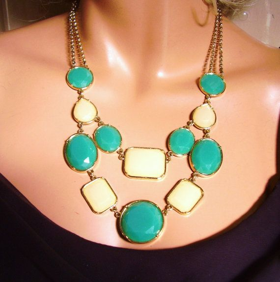 """Vintage Gold Tone Double Chain Turquoise Yellow Necklace 11"""""""