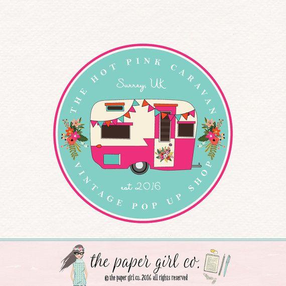 Caravan Logo Design Pop Up Shop Vintage Camper Boho Chic Photography