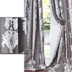 Charcoal Grey With Silver Metallic Print Faux Silk  Inch Curtain Panel
