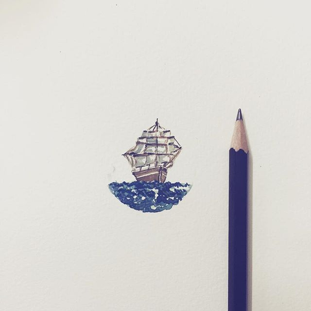 """#ship #water #watercolor #travel #art #artist #artsy #illustration #drawing #daily #doodle #beautiful #instadraw #instaart #thisismyart #sketchoftheday #miniature drawn on the #sketchbook by @rubberband_kit"" Photo taken by @sharmaparul_ on Instagram, pinned via the InstaPin iOS App! http://www.instapinapp.com (07/24/2015)"