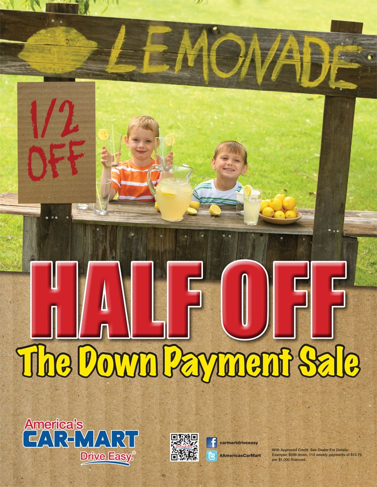 April 2014 Promotion Half off the Down Payment Offer at
