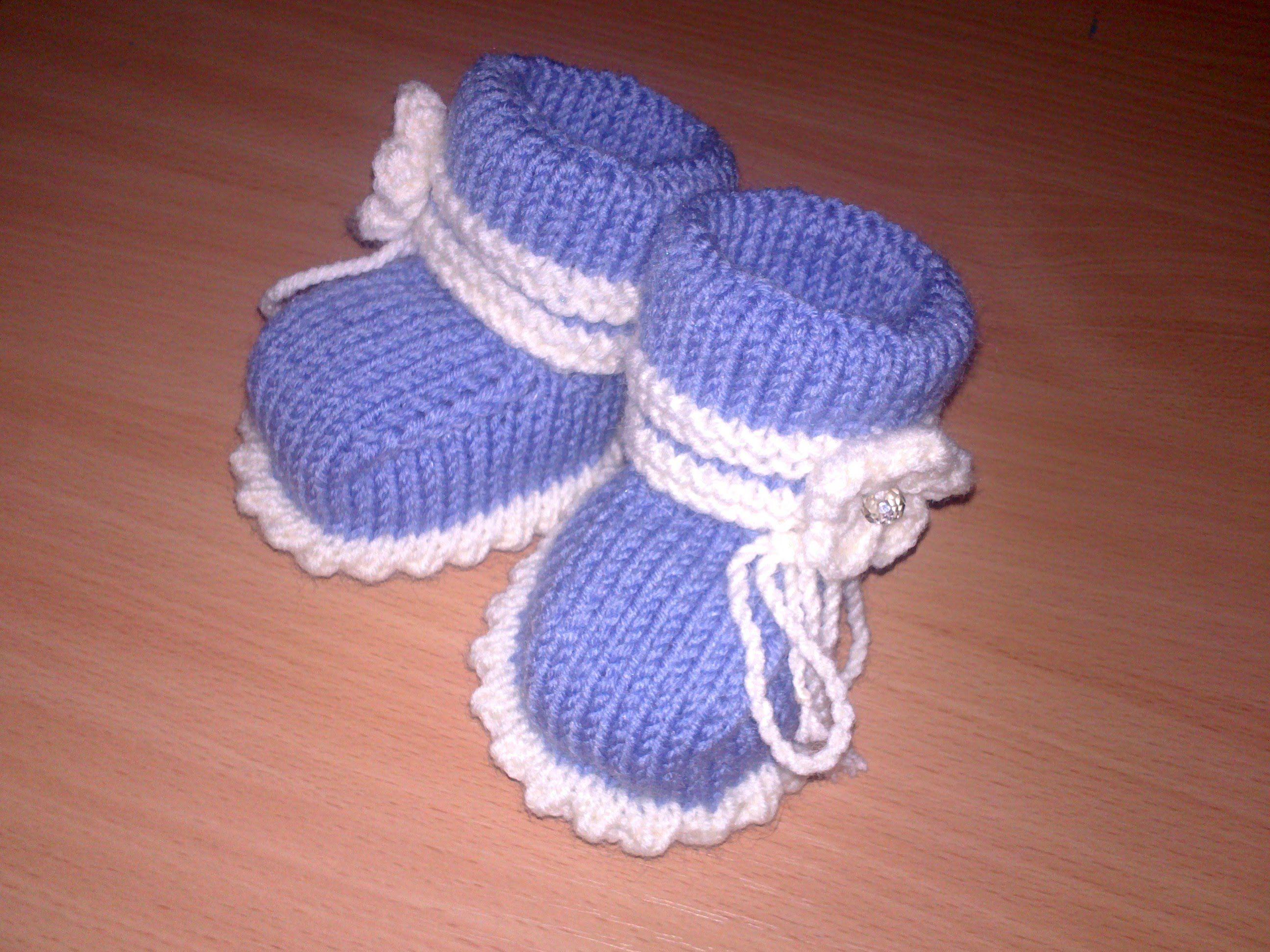 Вязаные пинетки спицами knitting booties.Часть 1.Как связать простые пин. da7c140b4f3